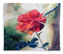 Watercolor Of A Single Red Rose On A Branch Fleece Blanket