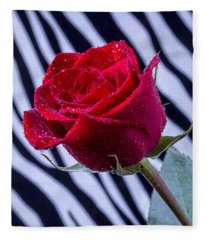 Red Rose With Stripes Fleece Blanket