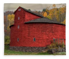 Red Round Barn Fleece Blanket