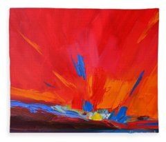 Red Sunset, Modern Abstract Art Fleece Blanket