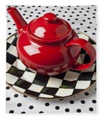Red Teapot On Checkerboard Plate Fleece Blanket