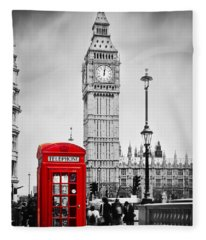 Red Telephone Booth And Big Ben In London Fleece Blanket
