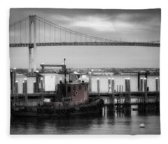 Red Tugboat And Newport Bridge Fleece Blanket
