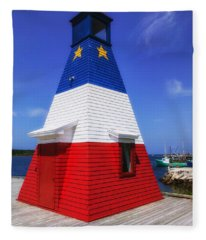 Red White And Blue Lighthouse Fleece Blanket