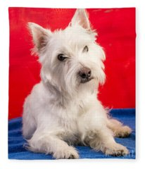 Red White And Blue Westie Fleece Blanket