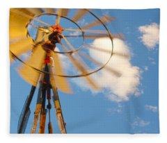 Red Wind Windmill Fleece Blanket
