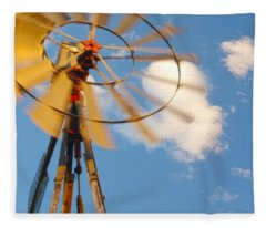 Red Wind Windmill Fleece Blanket