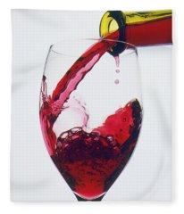 Red Wine Being Poured  Fleece Blanket