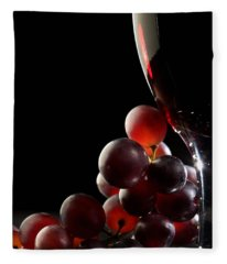 Red Wine With Grapes Fleece Blanket
