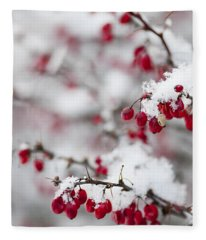 Red Winter Berries Under Snow Fleece Blanket