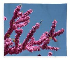 Redbud Against Blue Sky Fleece Blanket