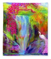 Waterfall And White Peacock, Redbud Falls Fleece Blanket