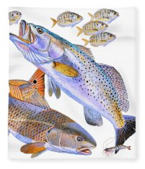 Redfish Trout Fleece Blanket