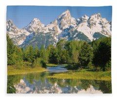 Reflection Of A Snowcapped Mountain Fleece Blanket
