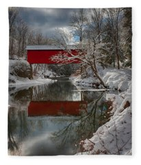 reflection of Slaughterhouse covered bridge Fleece Blanket