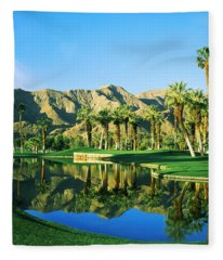 Reflection Of Trees On Water In A Golf Fleece Blanket