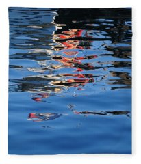 Reflections In Red Fleece Blanket