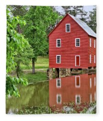 Reflections Of A Retired Grist Mill - Square Fleece Blanket