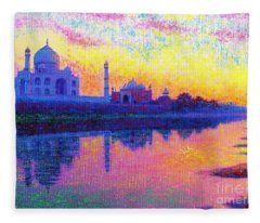Taj Mahal, Reflections Of India Fleece Blanket