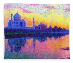 Taj Mahal, Reflections Of India Fleece Blanket