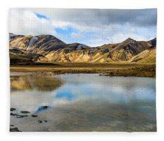 Reflections On Landmannalaugar Fleece Blanket