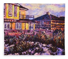 Rehoboth Beach Houses Fleece Blanket