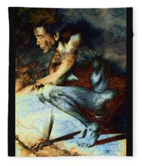 Resting Drawing With Texture Fleece Blanket
