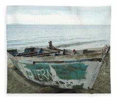 Resting Fishing Boat Fleece Blanket