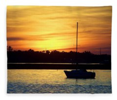 Resting In A Mango Sunset Fleece Blanket