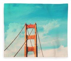 Retro Golden Gate - San Francisco Fleece Blanket