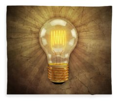 Retro Light Bulb Fleece Blanket