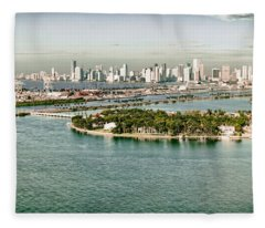 Retro Style Miami Skyline And Biscayne Bay Fleece Blanket