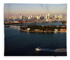 Retro Style Miami Skyline Sunrise And Biscayne Bay Fleece Blanket