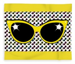 Retro Yellow Cat Sunglasses Fleece Blanket