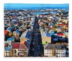 Reykjavik Cityscape Panorama Fleece Blanket
