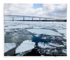Rhinecliff Bridge Over The Icy Hudson River Fleece Blanket