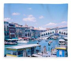 Rialto And Grand Canal Venice Italy Fleece Blanket