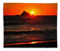 Rialto Beach Sunset Fleece Blanket