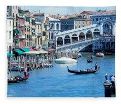 Rialto Bridge & Grand Canal Venice Italy Fleece Blanket