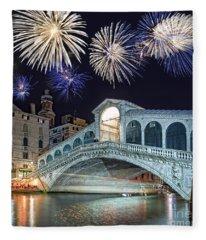 Rialto Bridge Fireworks Fleece Blanket