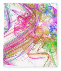 Ribbons And Curls White - Abstract - Fractal Fleece Blanket