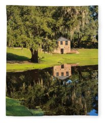 Rice Mill  Pond Reflection Fleece Blanket