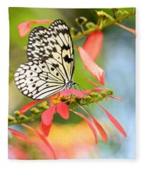 Rice Paper Butterfly In The Garden Fleece Blanket