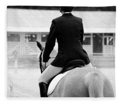 Rider In Black And White Fleece Blanket