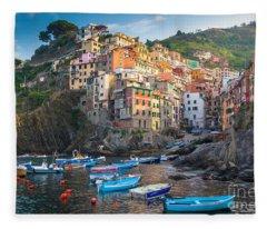 Riomaggiore Boats Fleece Blanket