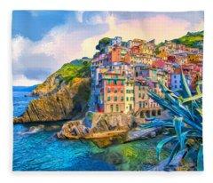 Riomaggiore Morning - Cinque Terre Fleece Blanket