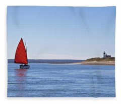 Ripple Catboat With Red Sail And Lighthouse Fleece Blanket