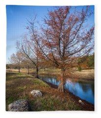 River And Winter Trees Fleece Blanket