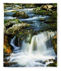 River Flowing Through Woods Fleece Blanket