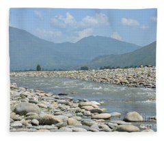 Riverbank Water Rocks Mountains And A Horseman Swat Valley Pakistan Fleece Blanket